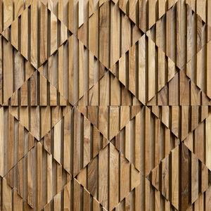 wooden wall cladding panel / indoor / textured / 3D