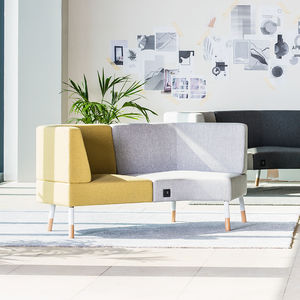modular upholstered bench / contemporary / wooden / fabric