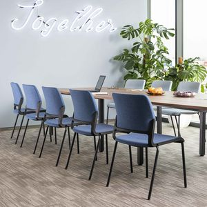 contemporary conference chair / on casters / sled base / with armrests