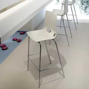 contemporary bar chair / with footrest / steel / plastic