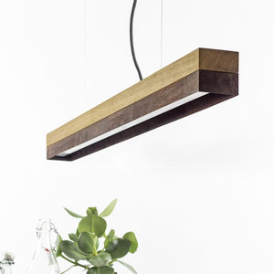 pendant lamp / minimalist design / concrete / oak