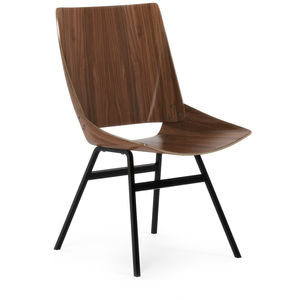 Scandinavian design chair / upholstered / with armrests / oak