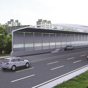 prefab noise barrier / steel / polyester / for roads