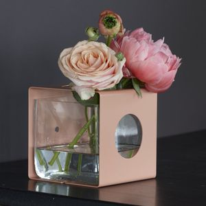 contemporary vase / glass / lacquered steel / stainless steel