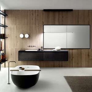 contemporary bathroom / wooden / melamine / glass