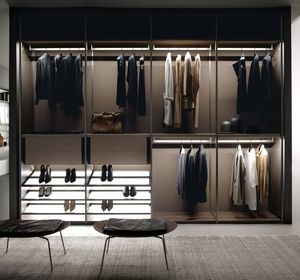 wall-mounted wardrobe / contemporary / aluminum / melamine