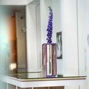 original design vase / glass / wood / aluminum