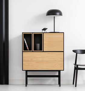 high sideboard / contemporary / oak / lacquered steel