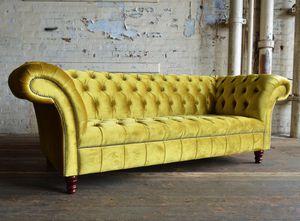 Chesterfield sofa / velvet / 2-person / 3-seater