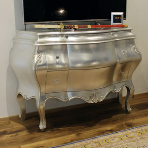 chest of drawers with long legs / New Baroque design / solid wood / glossy lacquered wood