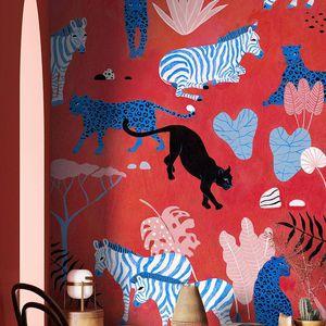 contemporary wallpaper / natural fiber / cellulose fiber / animal motif