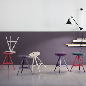bar stool / industrial design / wooden / fabric