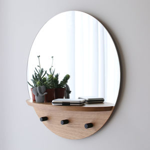 wall-mounted mirror / with shelf / contemporary / round