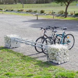 exterior gabion / galvanized steel / with integrated bike rack