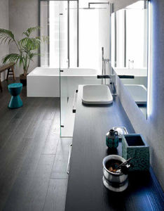 contemporary bathroom / glass / wooden / ceramic