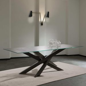 contemporary dining table / crystal / metal / rectangular
