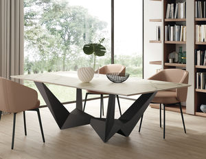contemporary table / wood veneer / lacquered MDF / ceramic
