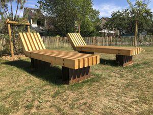 contemporary sun lounger / larch / COR-TEN® steel / garden