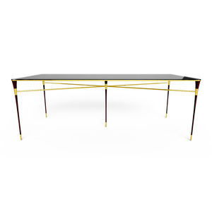 contemporary dining table / glass / lacquered wood / polished brass