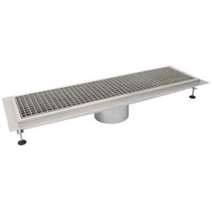 stainless steel drainage channel / with grating / for kitchens
