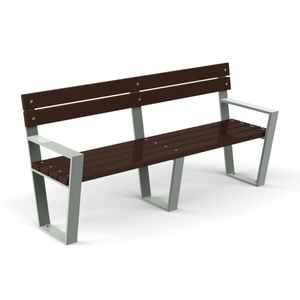 public bench / contemporary / metal / recycled plastic