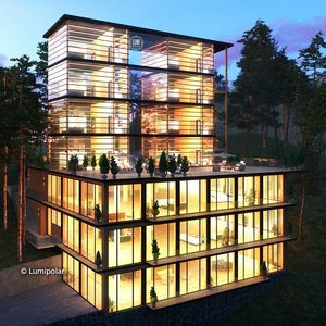 prefab house / contemporary / glue-laminated wood / glass