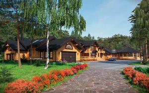 prefab house / traditional / glue-laminated wood / energy-efficient