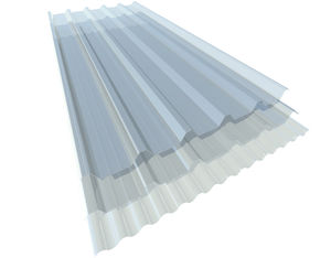 corrugated polycarbonate panel / for roofs / for facade cladding / translucent