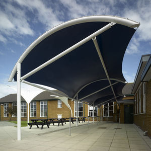 metal frame tensile structure / cable-and-membrane / for public spaces / for hospitals