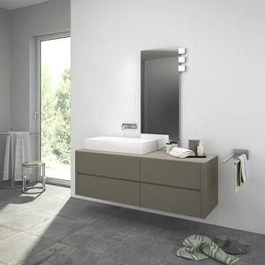 double washbasin cabinet / wall-mounted / wenge / oak