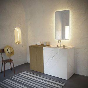 double washbasin cabinet / wall-mounted / free-standing / oak