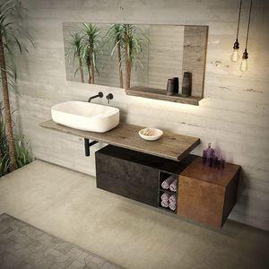wall-mounted washbasin cabinet / solid wood / lacquered wood / wood veneer