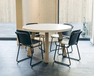 contemporary table / birch / birch base / rectangular