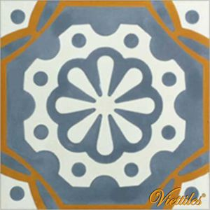 shingle encaustic cement tile / square / blue / handmade