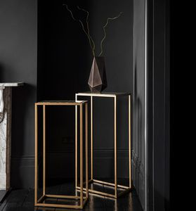 contemporary high occasional table / glass / steel / marble