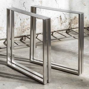 brushed stainless steel table base