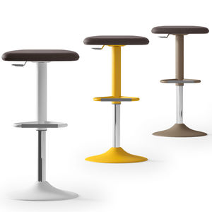 contemporary stool / textile / painted metal / synthetic leather