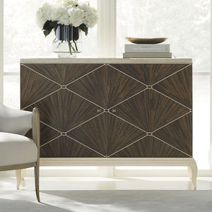 traditional sideboard / wood veneer / marble / with shelf