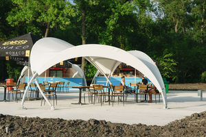 metal frame tensile structure / for shelters / for interior / with PVC membrane