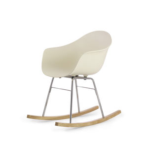 contemporary chair / with armrests / rocker / wooden