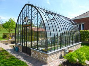gardening greenhouse / even-span / iron / glass