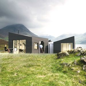 prefab house / modular / minimalist / timber frame house
