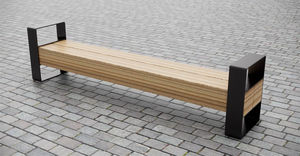 bench with armrests / public / contemporary / hardwood