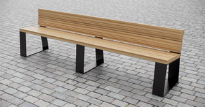 public bench / contemporary / hardwood / with backrest