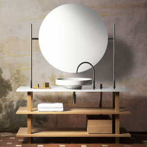 free-standing washbasin cabinet / oak / contemporary / with mirror