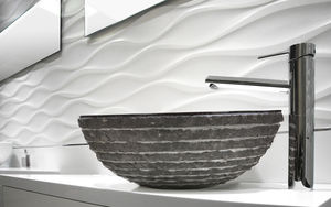 countertop washbasin / round / marble / contemporary