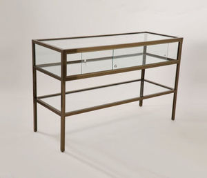 contemporary table display case / with legs / wooden / glass