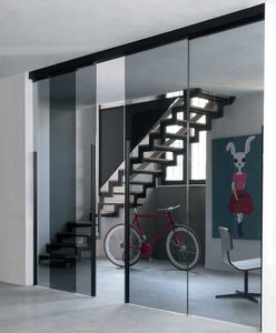 interior door / sliding / security glass / aluminum