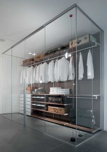 walk-in closet door / sliding / aluminum / glazed