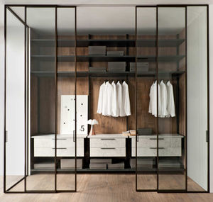 walk-in closet door / sliding / aluminum / glazed